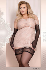 Ballerina Plus Size Hold Ups 363 (Black) - Plus Size Hold Up Stockings - Ballerina - Charm and Lace Boutique