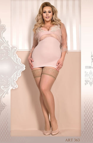 Ballerina Plus Size Hold Ups 363 (Skin) - Plus Size Hold Up Stockings - Ballerina - Charm and Lace Boutique