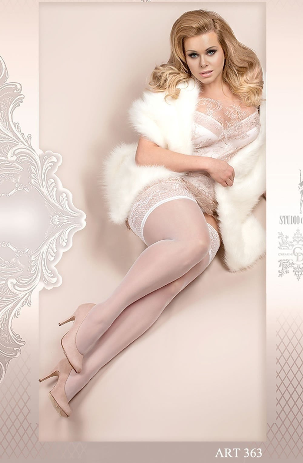 Ballerina Plus Size Hold Ups 363 (White) - Plus Size Hold Up Stockings - Ballerina - Charm and Lace Boutique