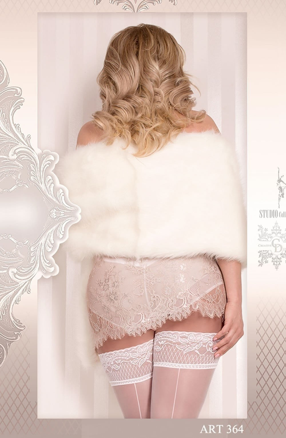 Ballerina Plus Size Hold Ups 364 (White) - Plus Size Hold Up Stockings - Ballerina - Charm and Lace Boutique