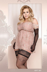 Ballerina Plus Size Hold Ups 365 (Black) - Plus Size Hold Up Stockings - Ballerina - Charm and Lace Boutique