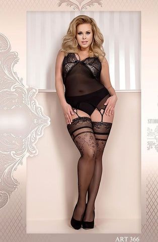 Ballerina Plus Size Hold Ups 366 (Black) - Plus Size Hold Up Stockings - Ballerina - Charm and Lace Boutique
