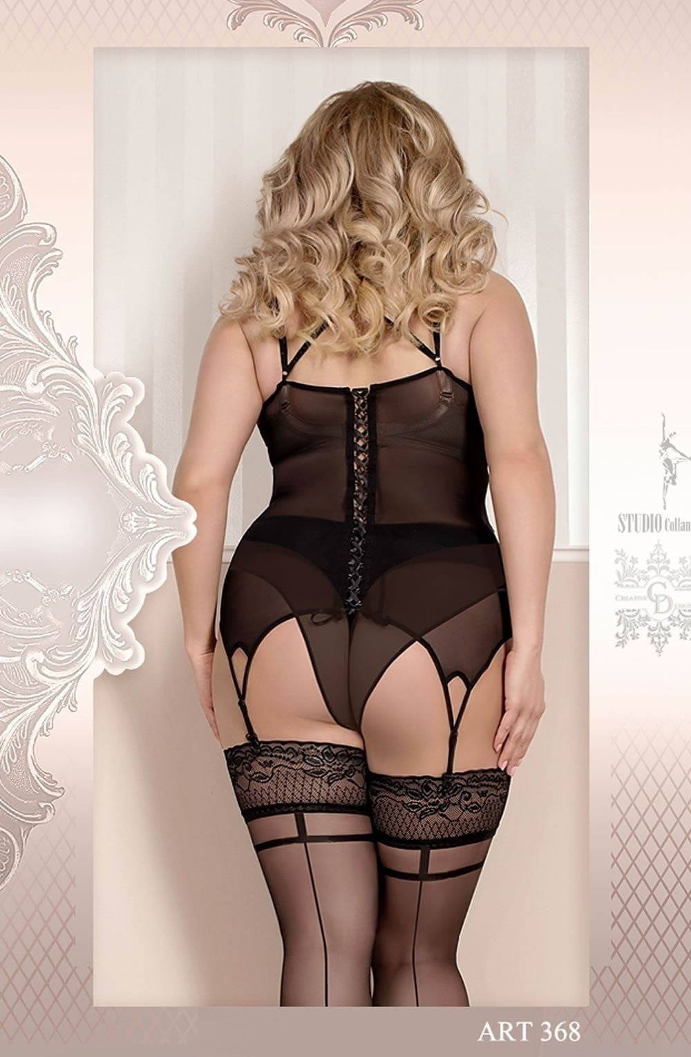 Ballerina Plus Size Hold Ups 368 (Black) - Plus Size Hold Up Stockings - Ballerina - Charm and Lace Boutique