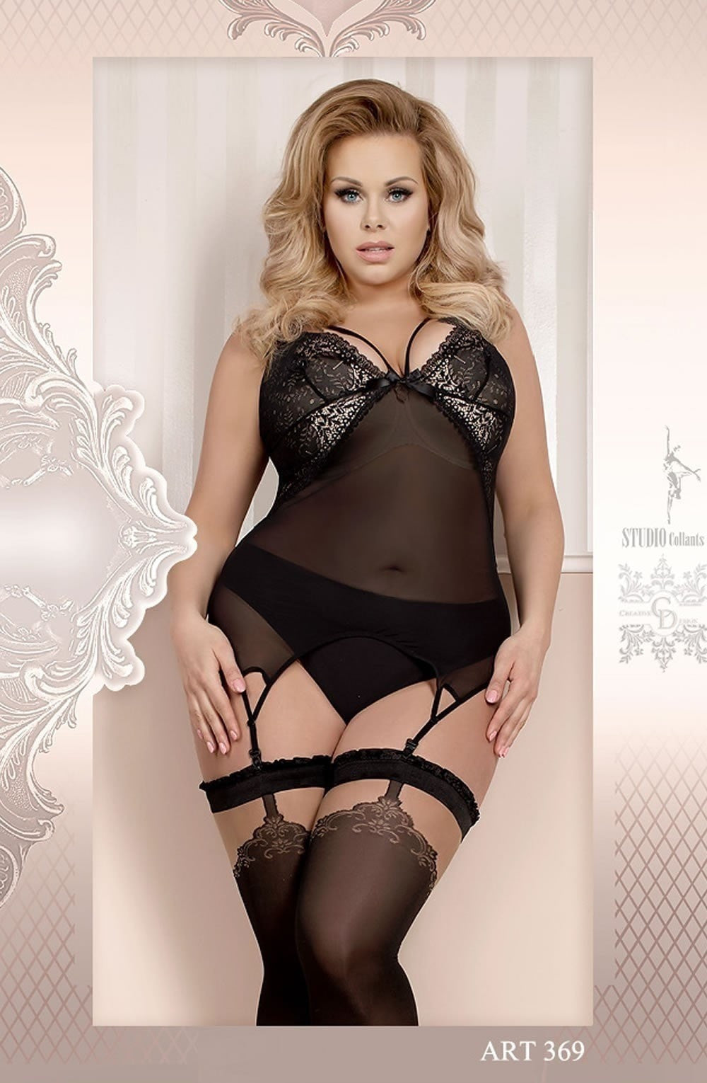 Ballerina Plus Size Hold Ups 369 (Black) - Plus Size Hold Up Stockings - Ballerina - Charm and Lace Boutique
