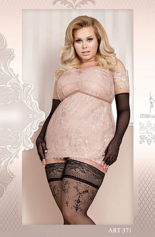 Ballerina Plus Size Hold Ups 371 (Black) - Plus Size Hold Up Stockings - Ballerina - Charm and Lace Boutique