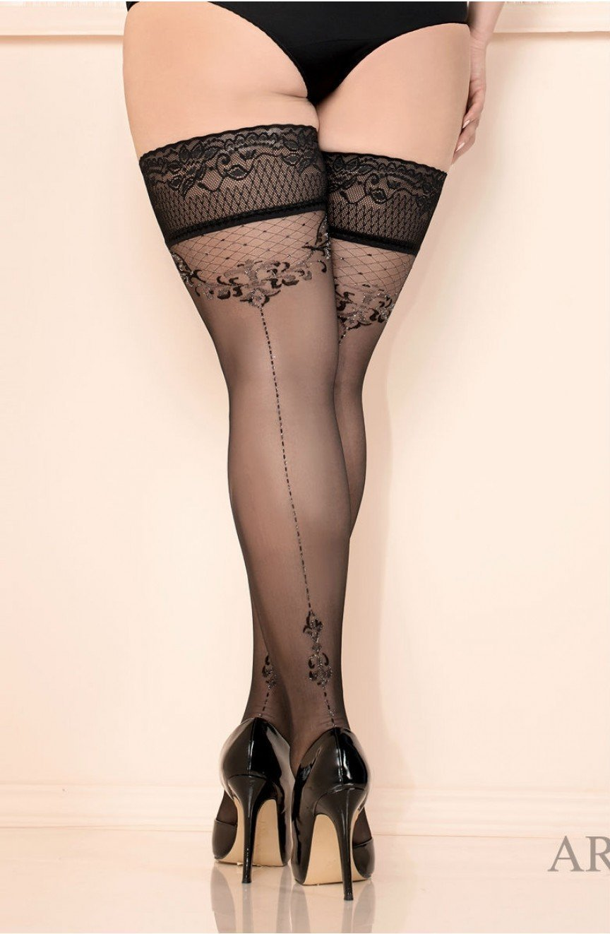 Ballerina 438 Hold Ups Nero (Black) - Plus Size Hold Up Stockings - Ballerina - Charm and Lace Boutique