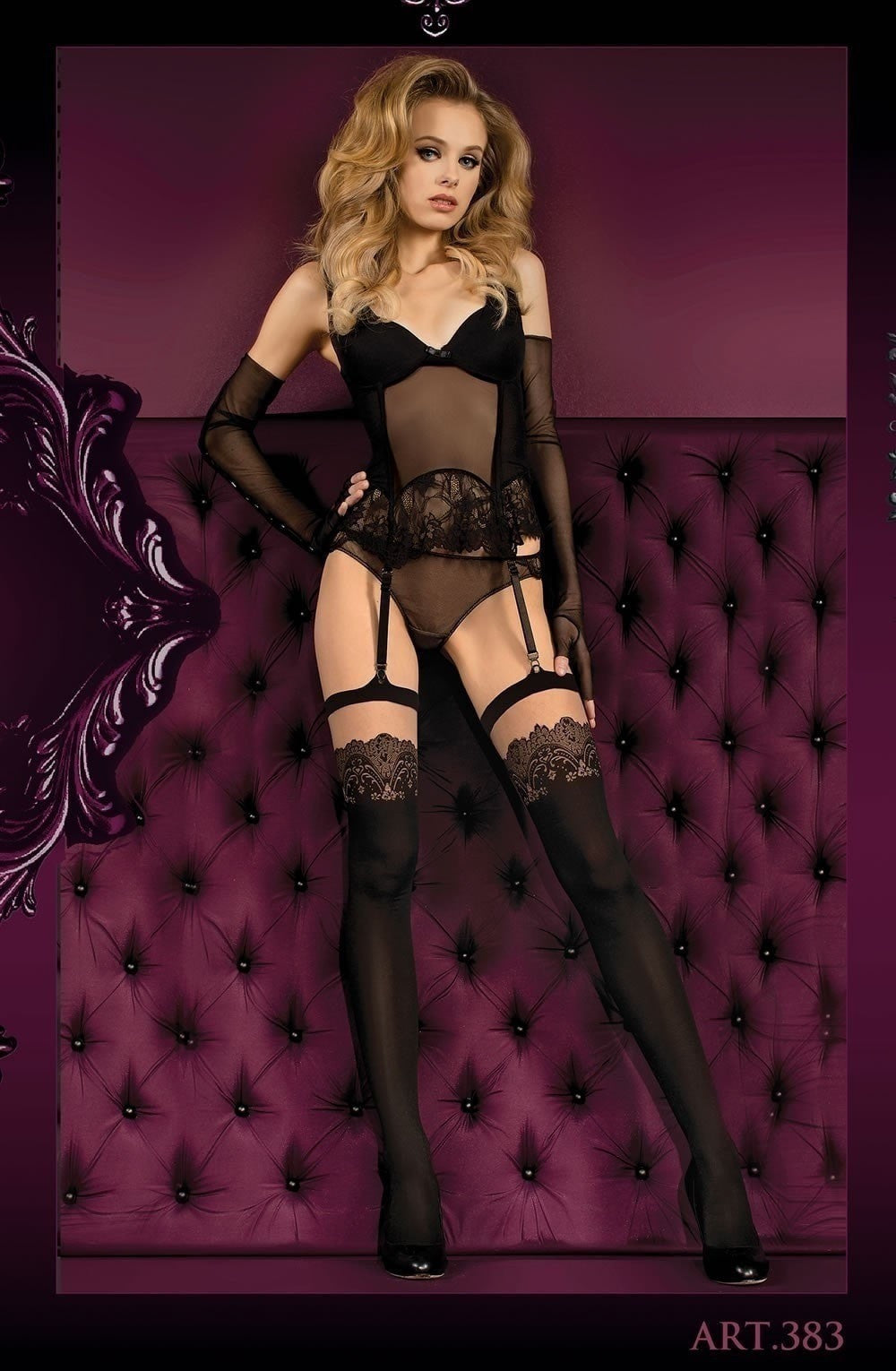 Ballerina Stockings 383 (Black/Skin) - Stockings - Ballerina - Charm and Lace Boutique