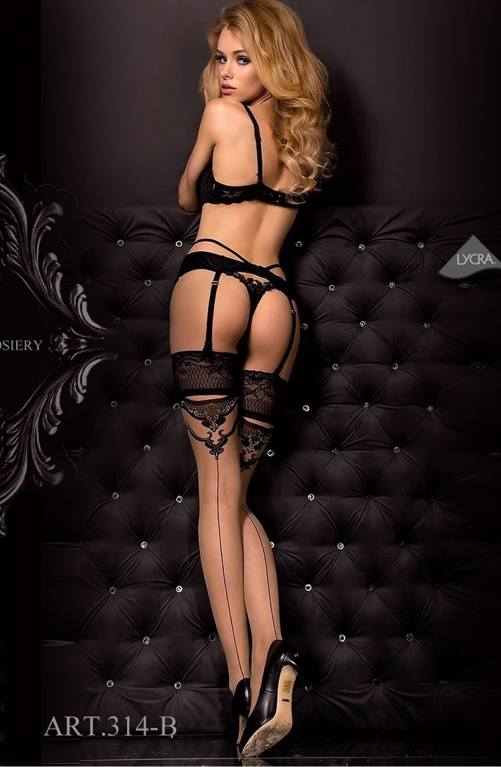 Ballerina Suspender Belt and String 315 (Black) - Suspender Belts - Ballerina - Charm and Lace Boutique