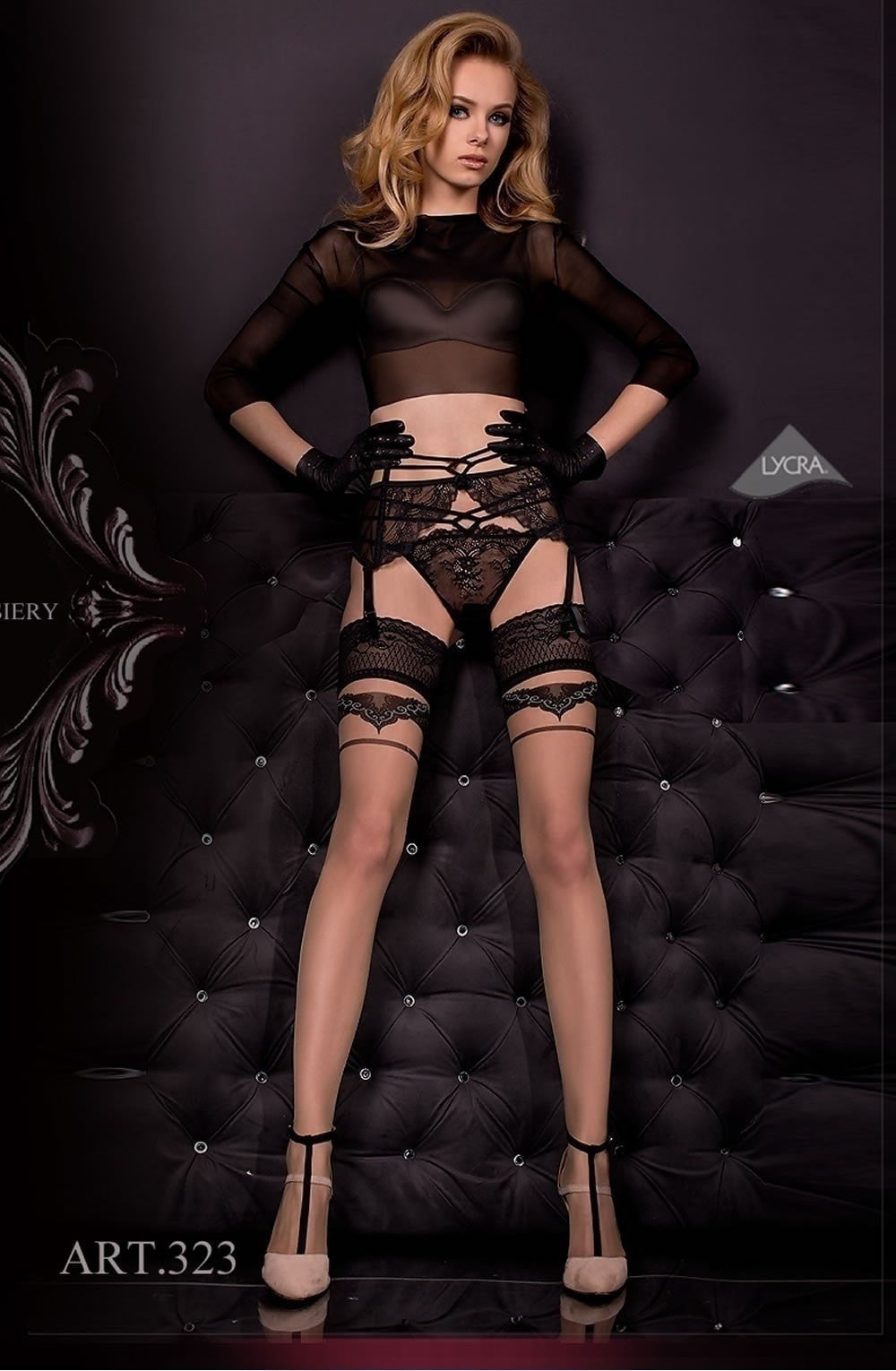 Ballerina Suspender Belt and String 324 (Black) - Suspender Belts - Ballerina - Charm and Lace Boutique