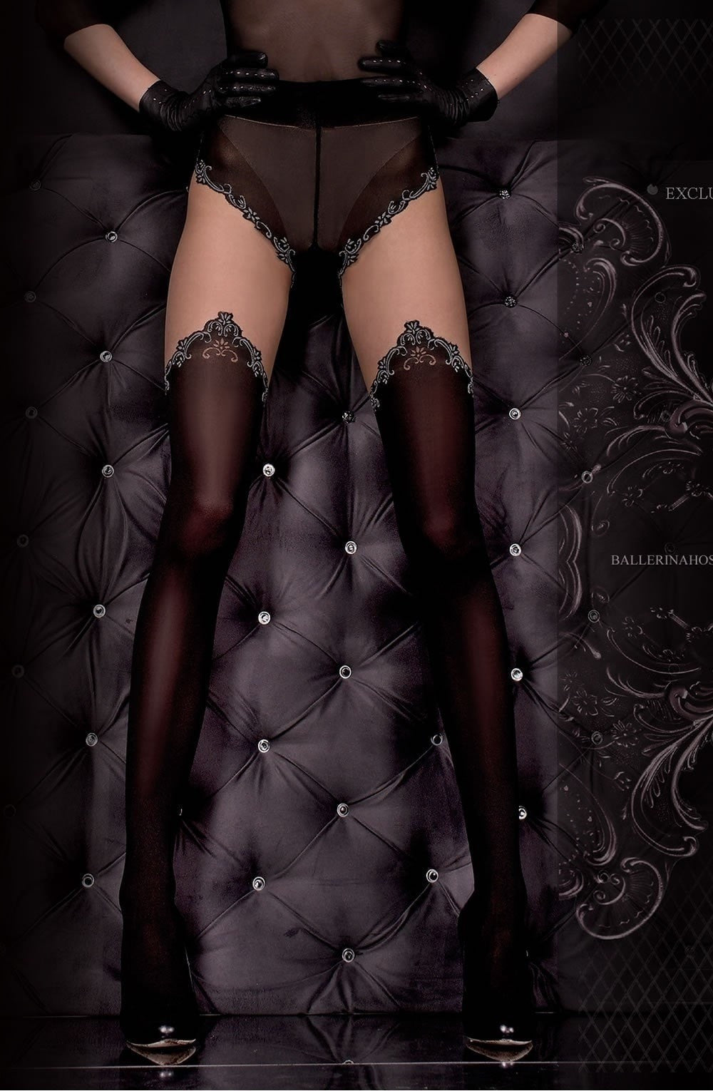 Ballerina Tights 305 (Black/Skin) - Tights - Ballerina - Charm and Lace Boutique