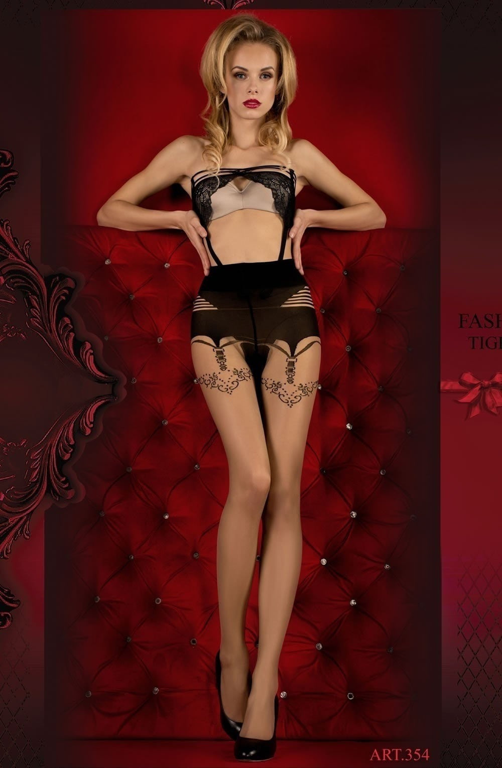 Ballerina Tights 354 (Skin/Black) - Tights - Ballerina - Charm and Lace Boutique