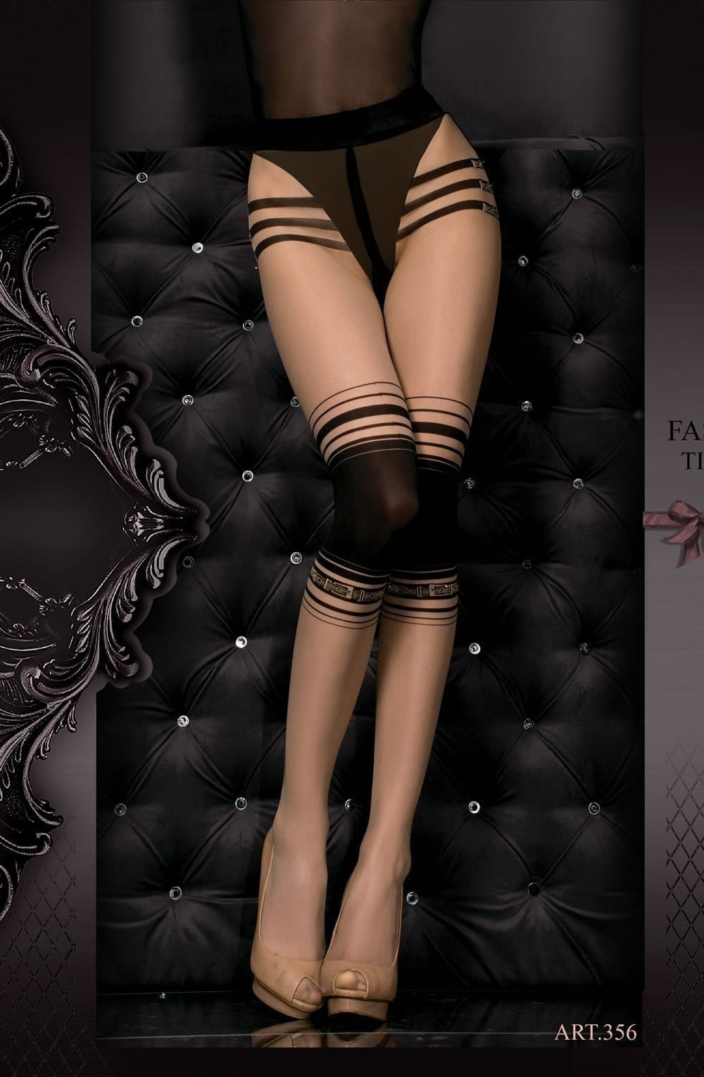 Ballerina Tights 356 (Skin/Black) - Tights - Ballerina - Charm and Lace Boutique