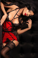 Beauty Night Avril Chemise (Red/Black) - Chemises - Beauty Night - Charm and Lace Boutique