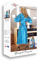Beauty Night Bouquet Dressing Gown (Turquoise) - Dressing Gowns - Beauty Night - Charm and Lace Boutique