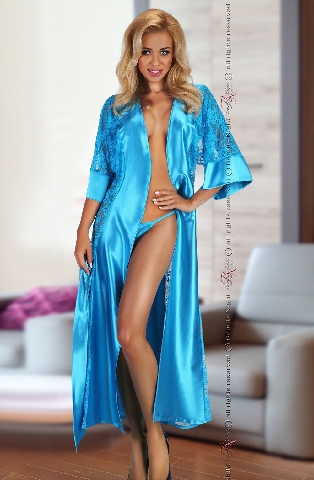 Beauty Night Bouquet Dressing Gown (Turquoise) at Charm and Lace ...