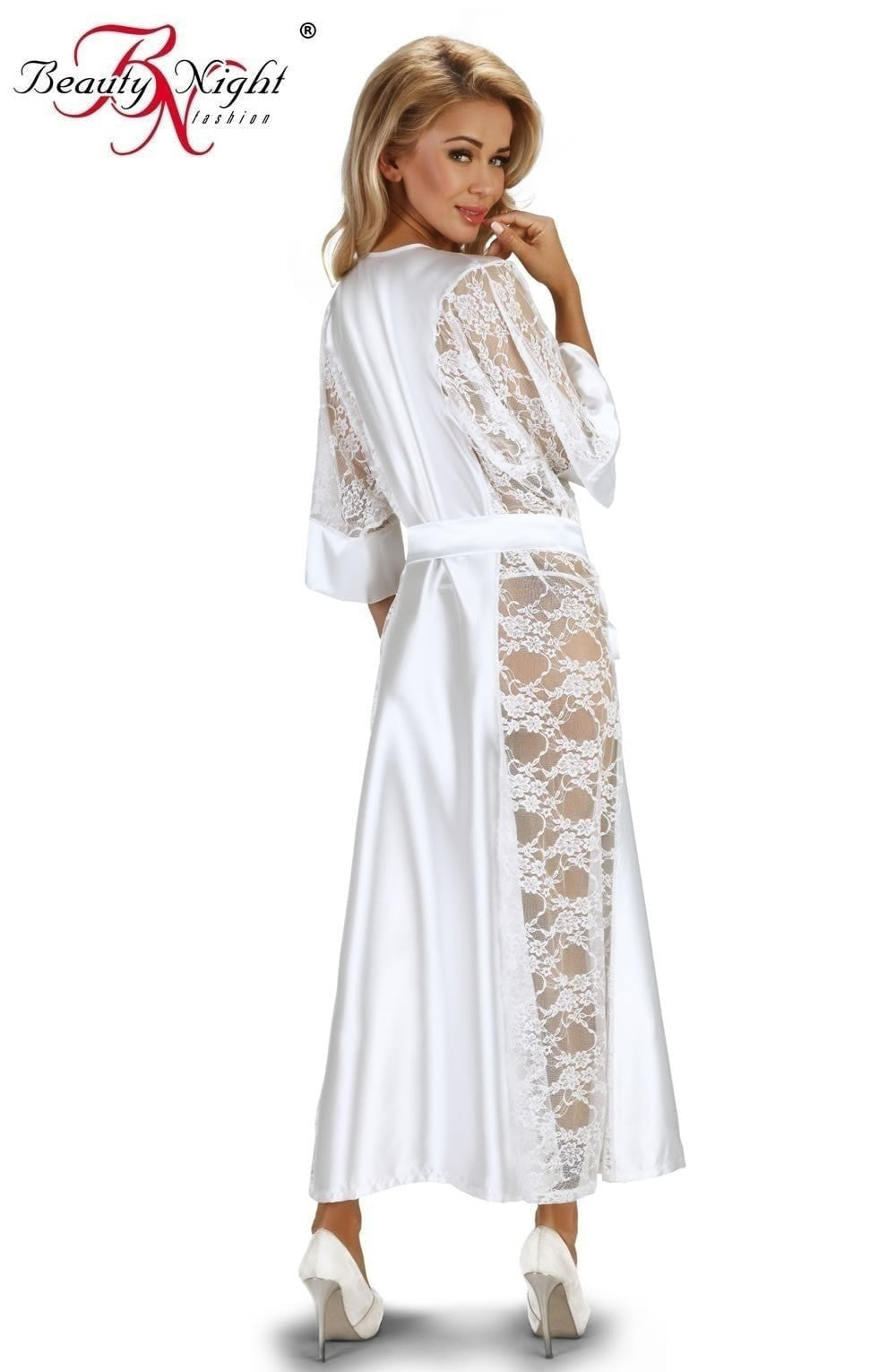 Beauty Night Bouquet Dressing Gown (White) at Charm and Lace Boutique