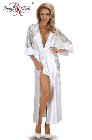 Beauty Night Bouquet Dressing Gown (White) - Dressing Gowns - Beauty Night - Charm and Lace Boutique