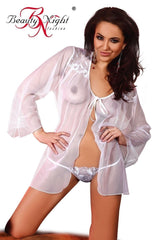 Beauty Night Claudia Peignoir Set (White) - Peignoirs - Beauty Night - Charm and Lace Boutique