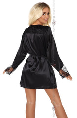 Beauty Night Fabienne Dressing Gown Set (Black) - Dressing Gowns - Beauty Night - Charm and Lace Boutique