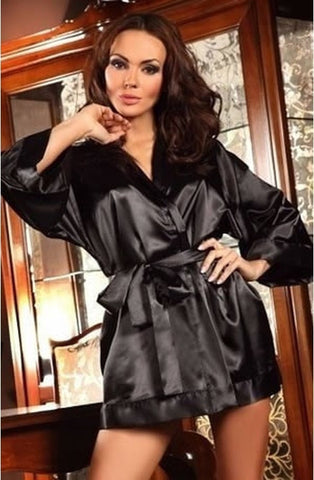 Beauty Night Maggie Dressing Gown (Black) - Dressing Gowns - Beauty Night - Charm and Lace Boutique