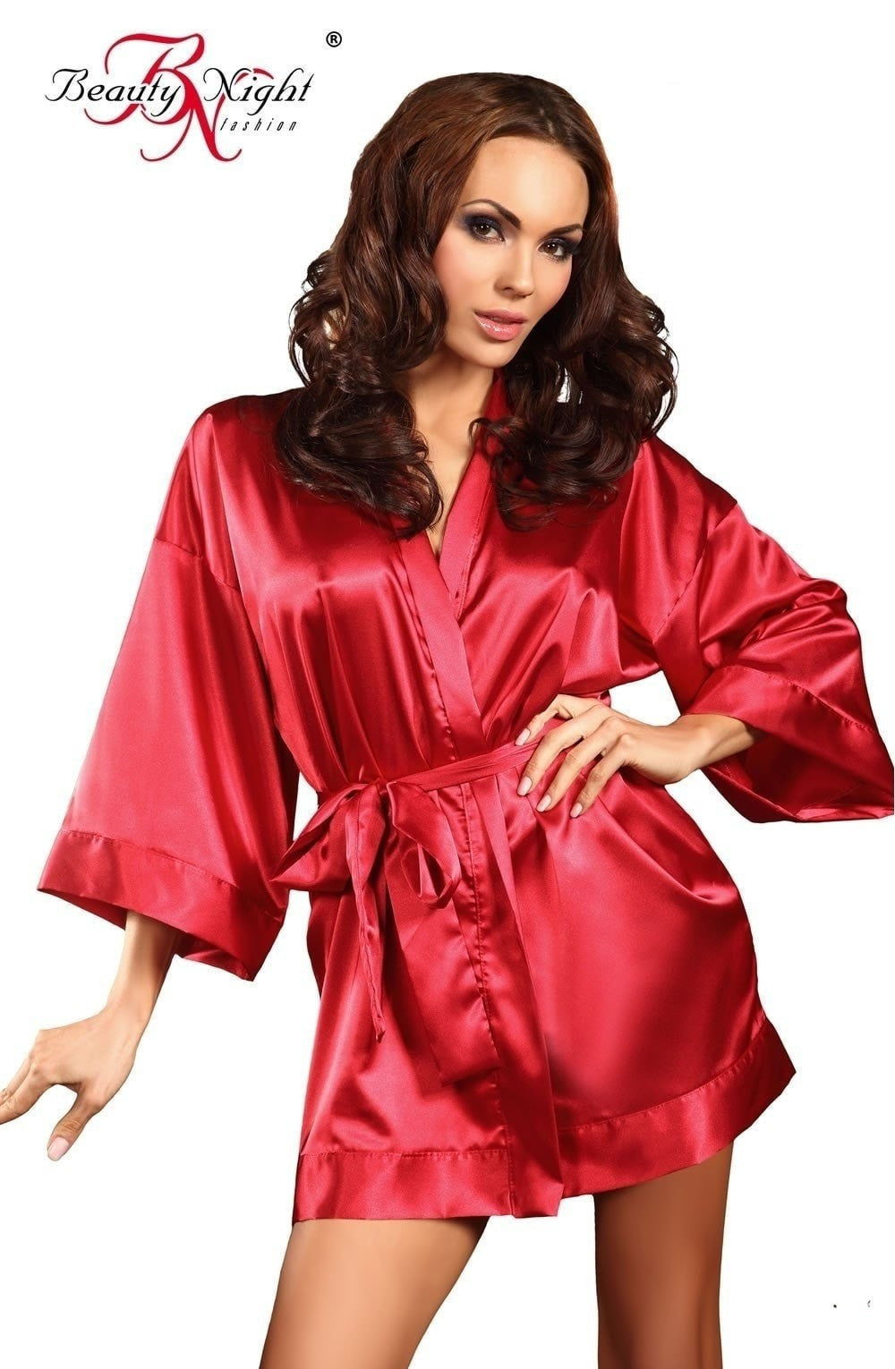Beauty Night Maggie Dressing Gown (Red) - Dressing Gowns - Beauty Night - Charm and Lace Boutique
