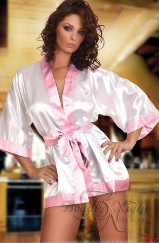 Beauty Night Maggie Dressing Gown (White/Pink) - Dressing Gowns - Beauty Night - Charm and Lace Boutique