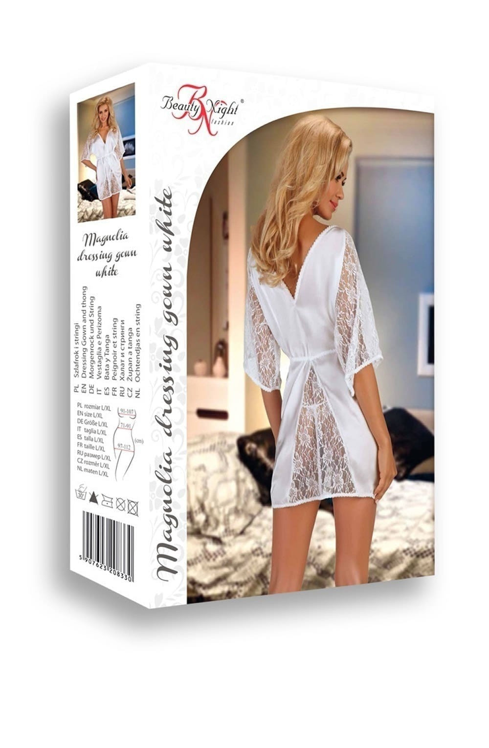 Beauty Night Magnolia Dressing Gown (White) at Charm and Lace Boutique
