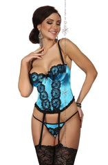 Beauty Night Michele Corset Set (Blue) - Corsets - Beauty Night - Charm and Lace Boutique
