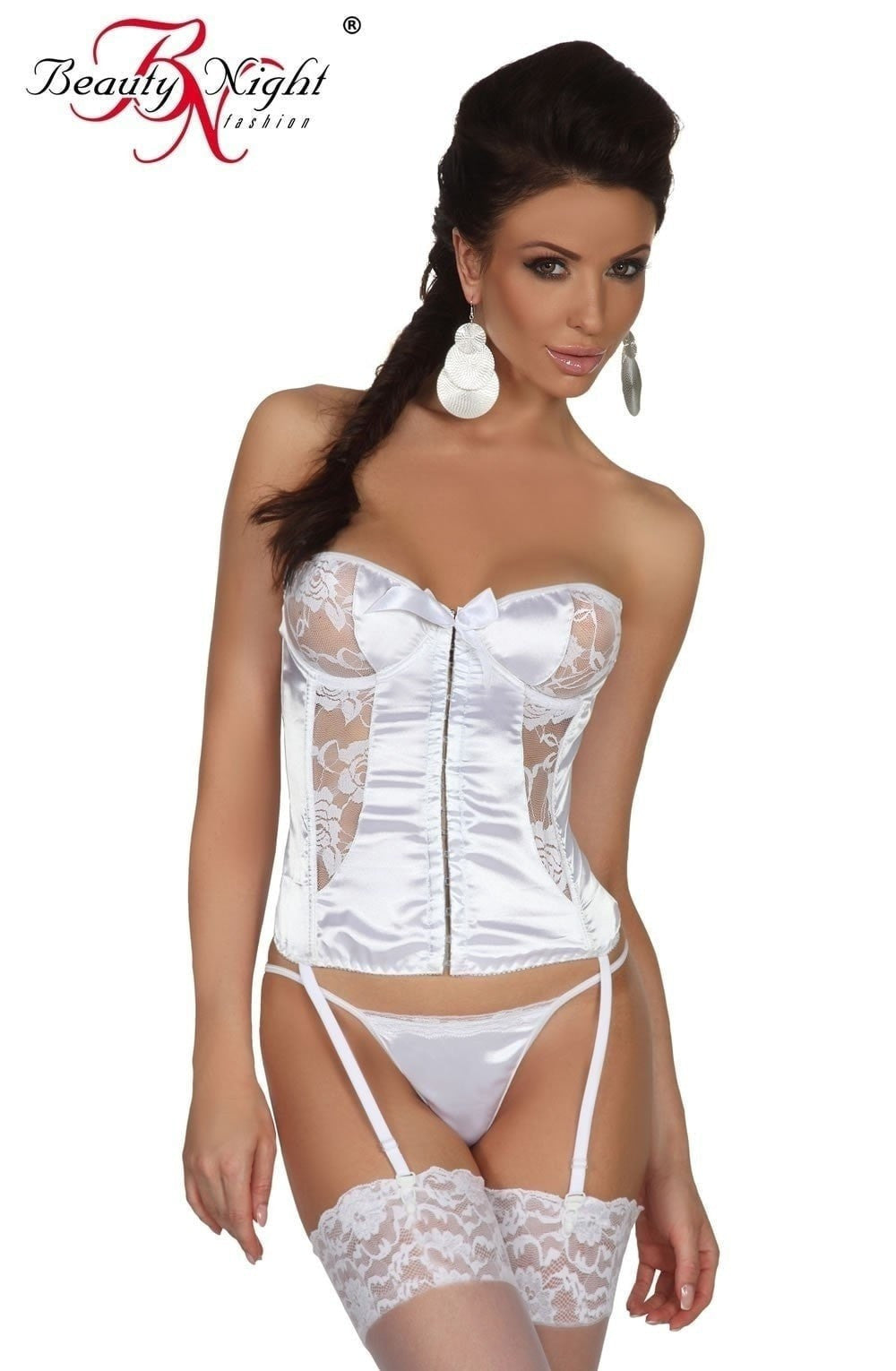 Beauty Night Patricia Corset Set (White) - Corsets - Beauty Night - Charm and Lace Boutique