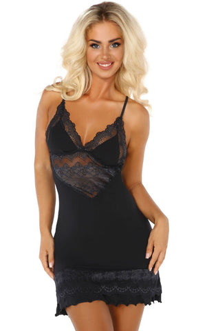Beauty Night Petra Chemise Set (Black) - Chemises - Beauty Night - Charm and Lace Boutique