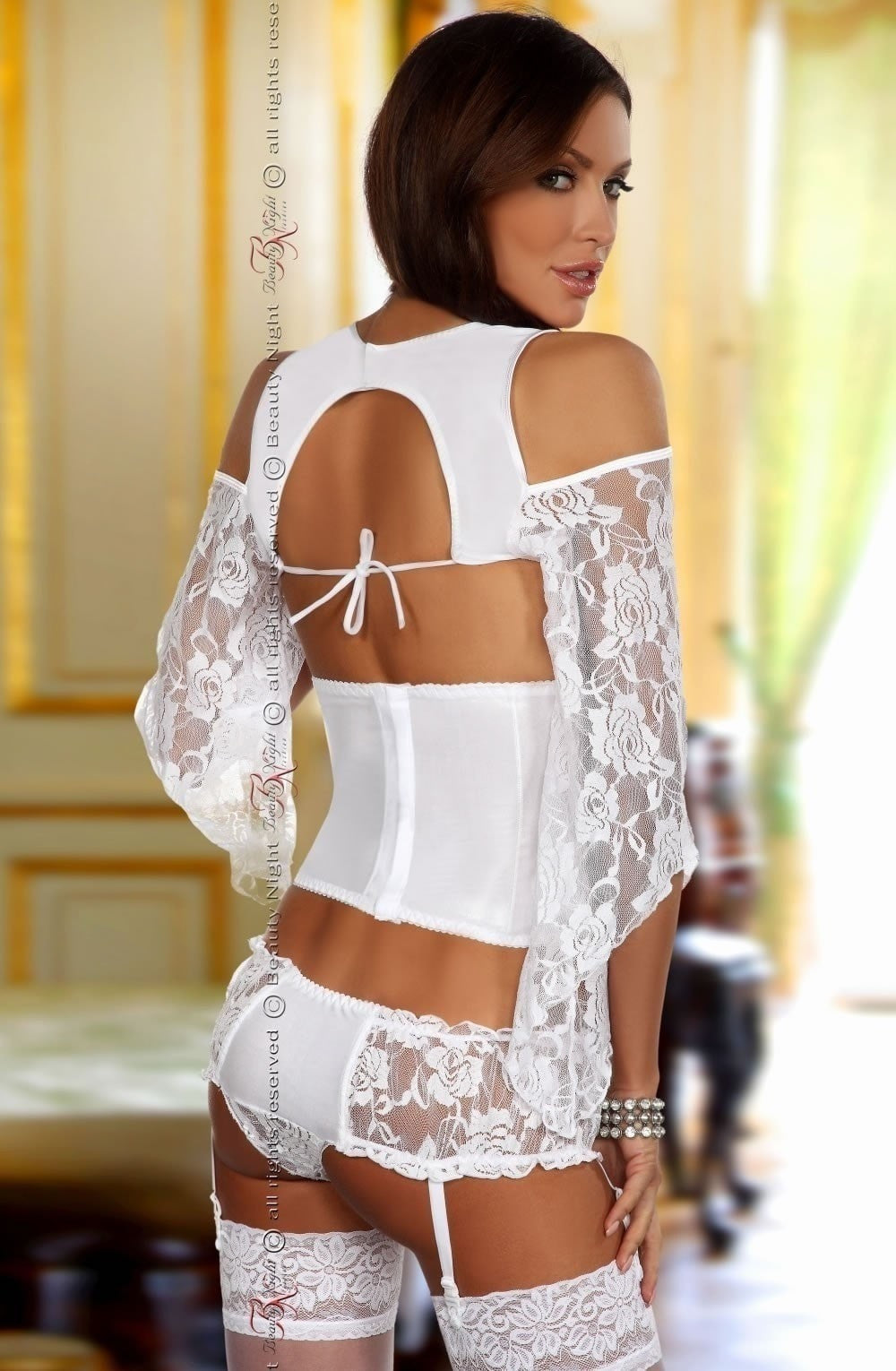Beauty Night Priscilla Set (White) - Lingerie Sets - Beauty Night - Charm and Lace Boutique