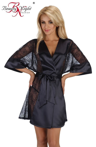 Beauty Night Stephanie Dressing Gown Set (Black) - Dressing Gowns - Beauty Night - Charm and Lace Boutique