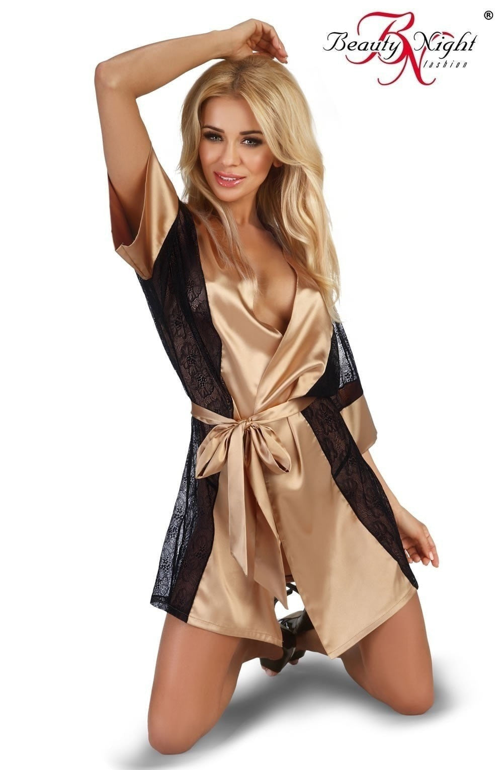 Beauty Night Stephanie Dressing Gown Set (Gold) - Dressing Gowns - Beauty Night - Charm and Lace Boutique