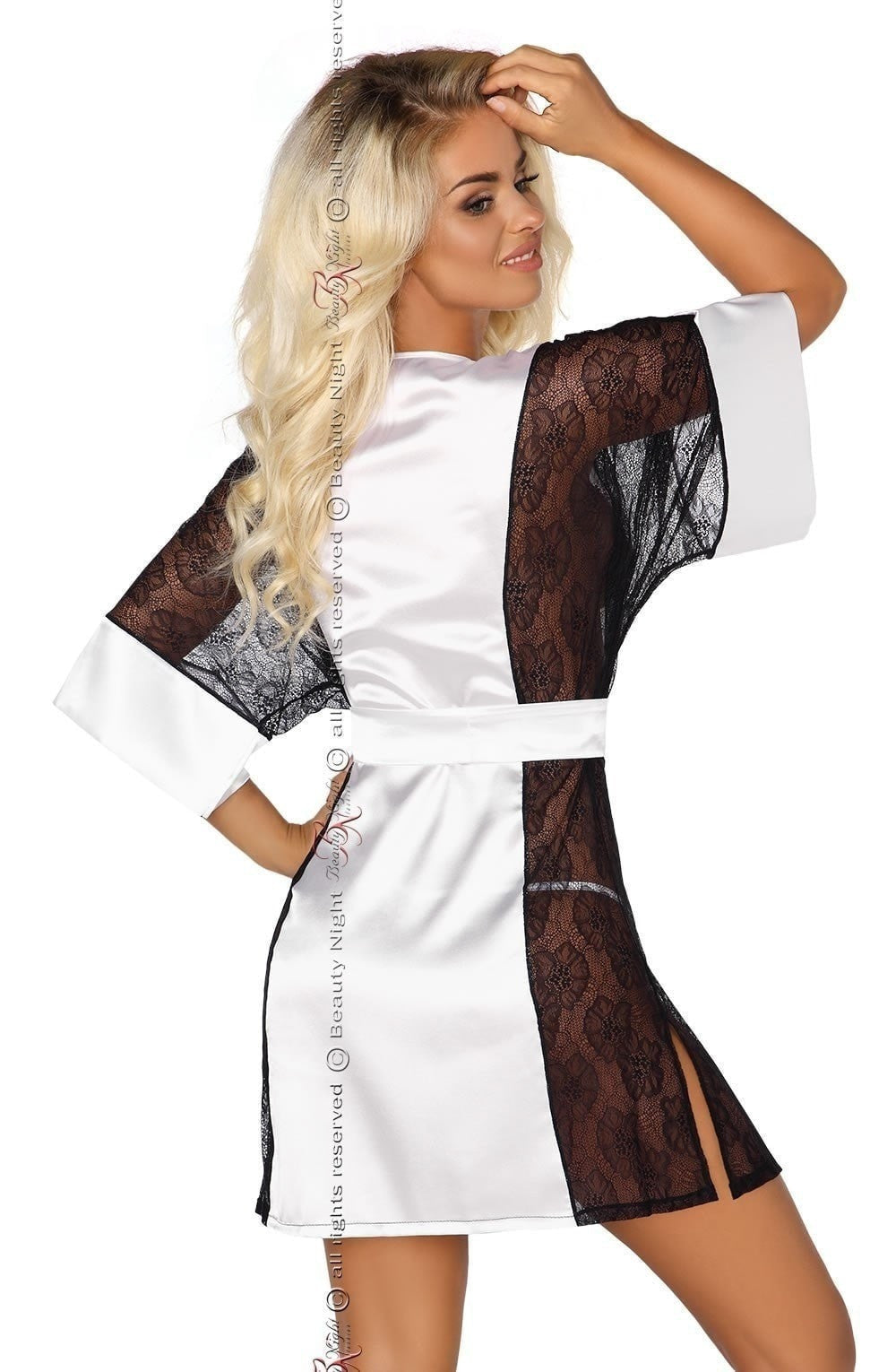 Beauty Night Stephanie Dressing Gown Set (White) at Charm and Lace ...