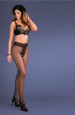 Gabriella Amira Erotic Tights (Black) - Tights - Gabriella - Charm and Lace Boutique
