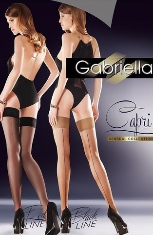 Gabriella Capri Hold Ups (Black Line) - Hold Up Stockings - Gabriella - Charm and Lace Boutique