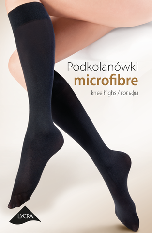 Gabriella Microfibre Knee Highs 501 (Nero) - Knee Highs - Gabriella - Charm and Lace Boutique