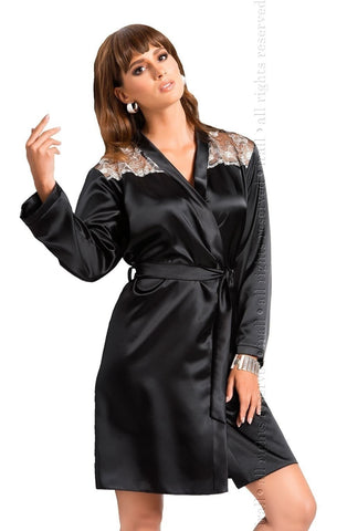 Irall Ida Dressing Gown (Black) - Dressing Gowns - Irall - Charm and Lace Boutique