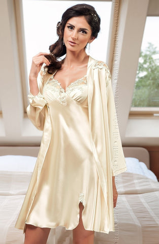 Irall Linda Dressing Gown (Ivory) - Dressing Gowns - Irall - Charm and Lace Boutique