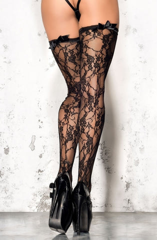 Me Seduce Floral Stockings (Black) - Stockings - Me Seduce - Charm and Lace Boutique