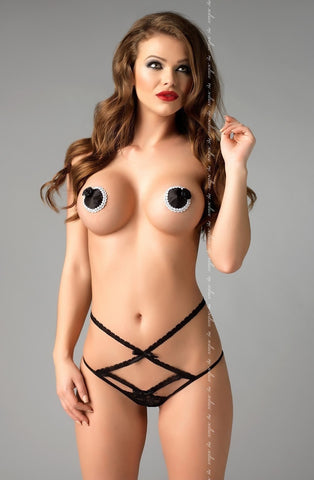 Me Seduce Rose Nipple Pasties NC014 (Black) - Nipple Pasties - Me Seduce - Charm and Lace Boutique