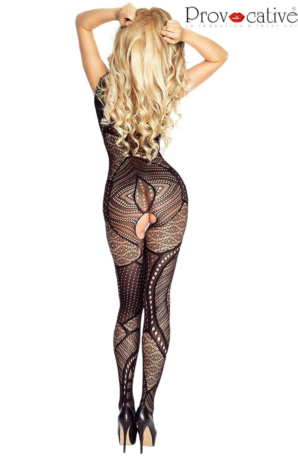 Gabriella In Black Fishnet Body Stocking