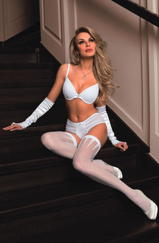 Roza Frosa Hold Ups (White) - Hold Up Stockings - Roza - Charm and Lace Boutique
