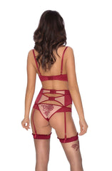 Roza Mehendi Suspender Belt (Claret) - Suspender Belts - Roza - Charm and Lace Boutique