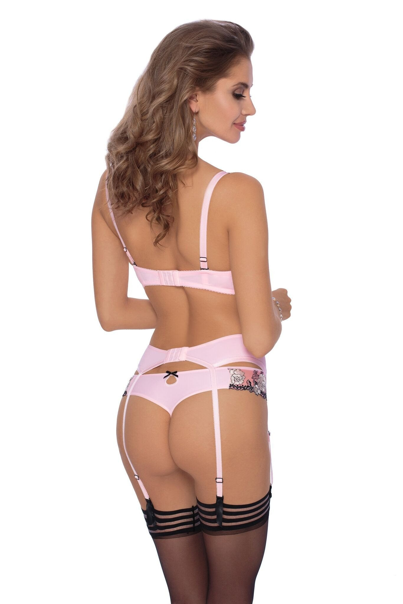 Roza Natali Suspender Belt (Pink) - Suspender Belts - Roza - Charm and Lace Boutique