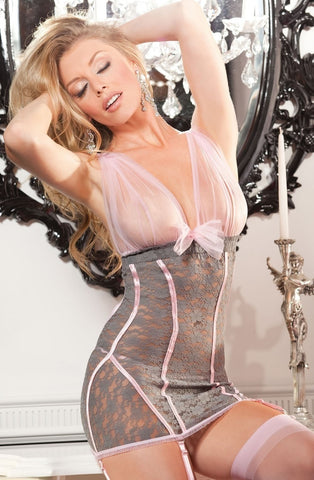 Shirley of Hollywood 25235 Lace Chemise (Grey/Pink) - Chemises - Shirley of Hollywood - Charm and Lace Boutique