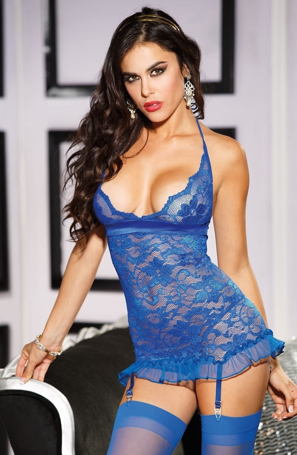 fbbeeee4b88 Shirley of Hollywood 25372 Stretch Lace Chemise (Royal Blue) - Chemises -  Shirley of