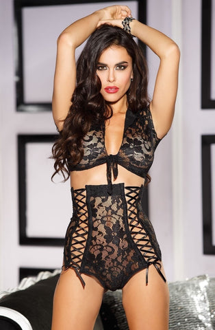 Shirley of Hollywood 25373 2pc Stretch Lace Set (Black) - Lingerie Sets - Shirley of Hollywood - Charm and Lace Boutique