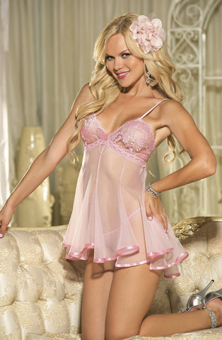 Shirley of Hollywood 3232 Babydoll (Pink) - Babydolls - Shirley of Hollywood - Charm and Lace Boutique