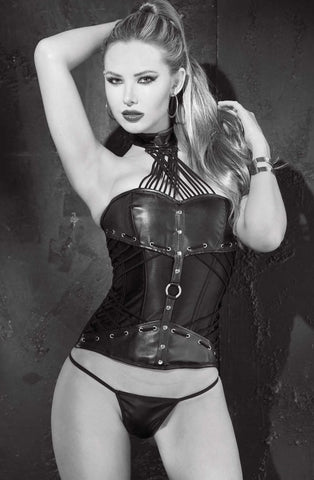 Shirley of Hollywood Faux Leather Corset (Black) - Corsets - Shirley of Hollywood - Charm and Lace Boutique